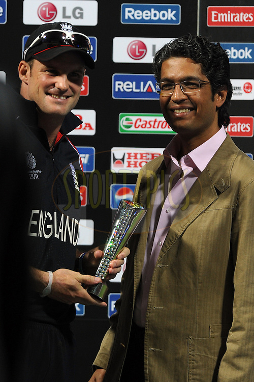 Andrew Strauss captain of England receives the man of the match during the ICC Cricket World Cup match between India and England held at the M Chinnaswamy Stadium in Bengaluru, Bangalore, Karnataka, India on the 27th February 2011..Photo by Pal Pillai/BCCI/SPORTZPICS