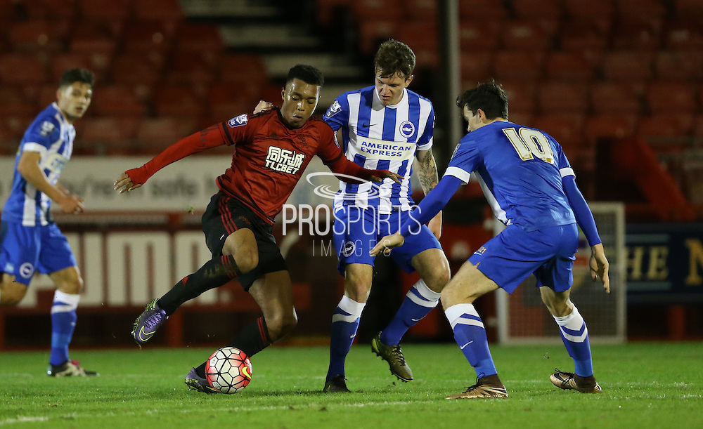 Tahvon Campbell, West Bromwich Albion midfielder during the Barclays U21 Premier League match between Brighton U21 and U21 West Bromwich Albion at the Checkatrade.com Stadium, Crawley, England on 25 January 2016.