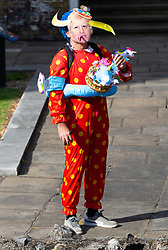 A man dressed as Boho The Clown wanders around the periphery of the College Green media encampment as Parliament debates a move by MPs to get an extension to Article 50 rather than allowing the Government to leave the EU without a deal on October 31st. London, September 04 2019.