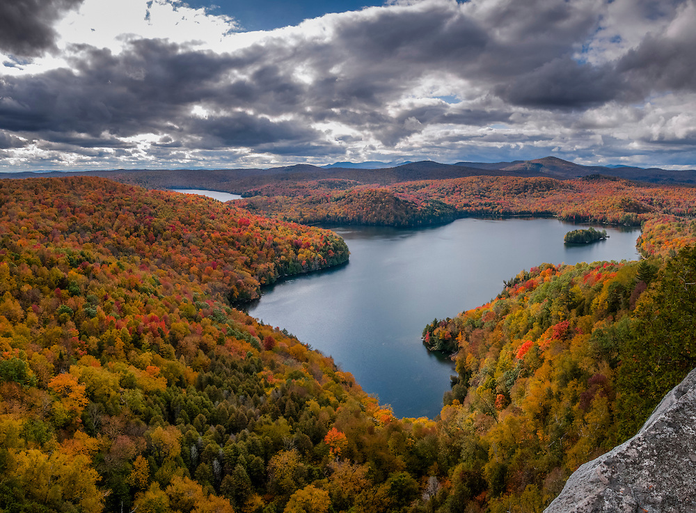 Lake views in fall colors from mountaintop, Woodbury, VT