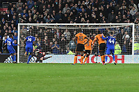 Football - 2017 / 2018 Sky Bet Championship - Cardiff City vs. Wolverhampton Wanderers<br /> <br /> ,David Junior Hoilett (Cardiff City) hits the bar with a right footed shot from the penalty spot in the 96th ,minute, Cardiff's 2nd penalty within minutes at the end of the game at Cardiff City Stadium.<br /> <br /> COLORSPORT/WINSTON BYNORTH