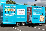 Diabetes Roadshow vehicle Tesco carpark, Ebbw Vale, Blaenau Gwent, South Wales, UK