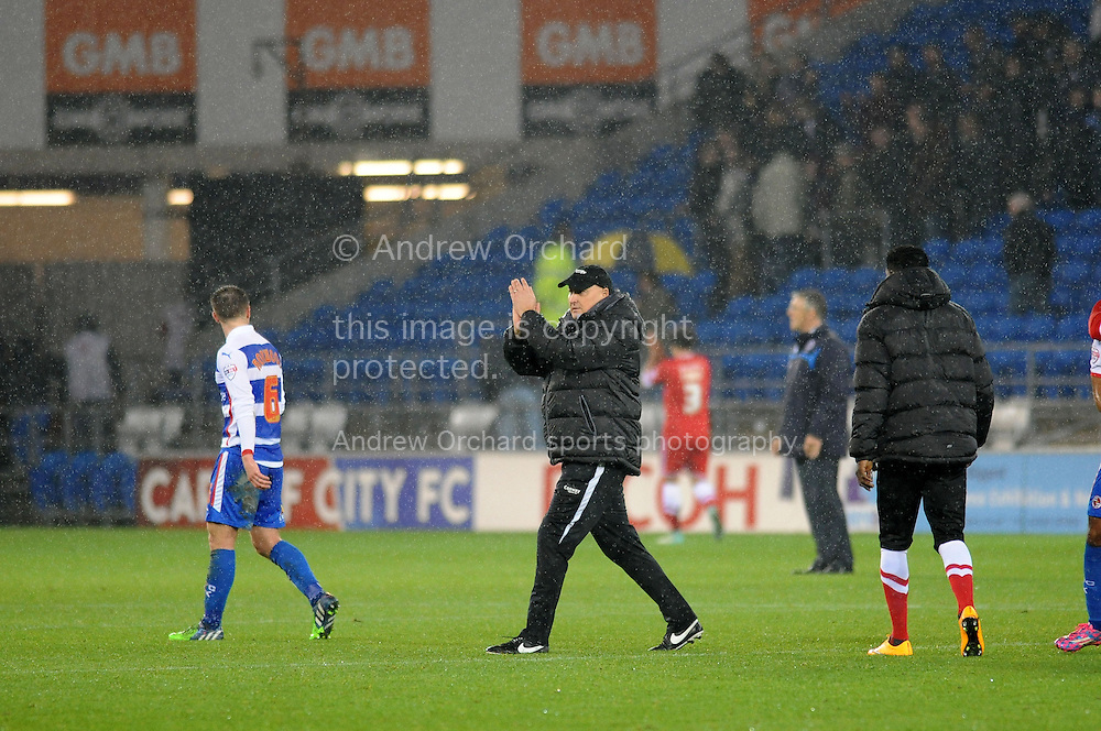 Cardiff City Manager Russell Slade claps the fans at full time.<br /> Skybet football league championship match, Cardiff city v Reading at the Cardiff city stadium in Cardiff, South Wales on Friday 21st November 2014<br /> pic by Phil Rees, Andrew Orchard sports photography.