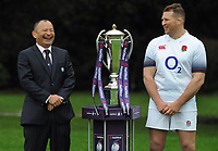 Rugby Union - 2018 Natwest Six Nations Launch Press Conference - Syon Park Hilton<br /> <br /> England coach Eddie Jones shares a joke with Captain , Dylan Hartley.<br /> <br /> COLORSPORT/ANDREW COWIE