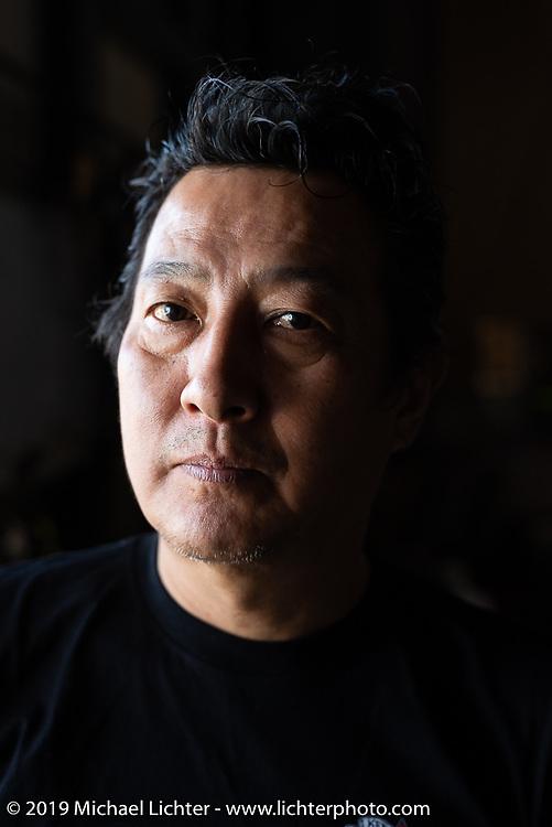 Ken Kenji Nagai of Ken's Factory in his Nagoya shop, Japan. Wednesday, December 5, 2018. Photography ©2018 Michael Lichter.