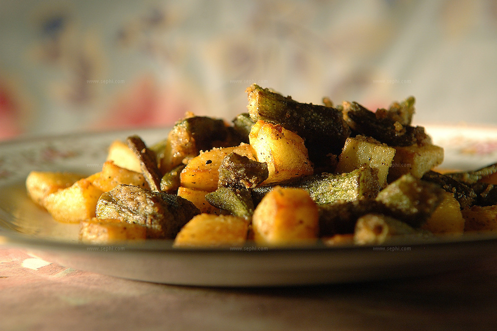 Bindi Aloo - Okra and potatoes.( Recipe available upon request )
