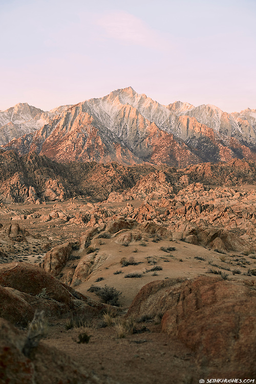The eastern slope of the Sierra Nevada Mountains as seen from the Alabama Hills of California.