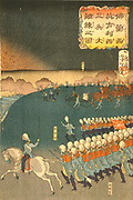 French and British troops engaged in military training manoeuvres, Yokohama, Japan. Part of triptych by Taiso Yoshitoshi (1839-1892) Japanese ukiyo-e artist. Infantry Field Artillery Gun