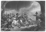 Tippoo Sultan (1749-99) Sultan of Mysore, slain at fall of Seringapatam, 6 February 1799. English forces led by General George Harris (1746-1829). Engraving