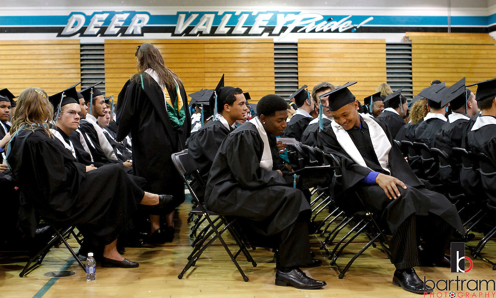 Deer Valley High School seniors are lined up in the gym before graduation on Friday, June 8, 2012. (Photo by Kevin Bartram)