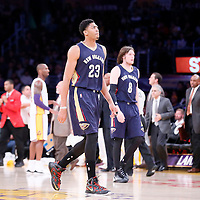 07 December 2014: New Orleans Pelicans forward Anthony Davis (23) goes back to the bench during the New Orleans Pelicans 104-87 victory over the Los Angeles Lakers, at the Staples Center, Los Angeles, California, USA.