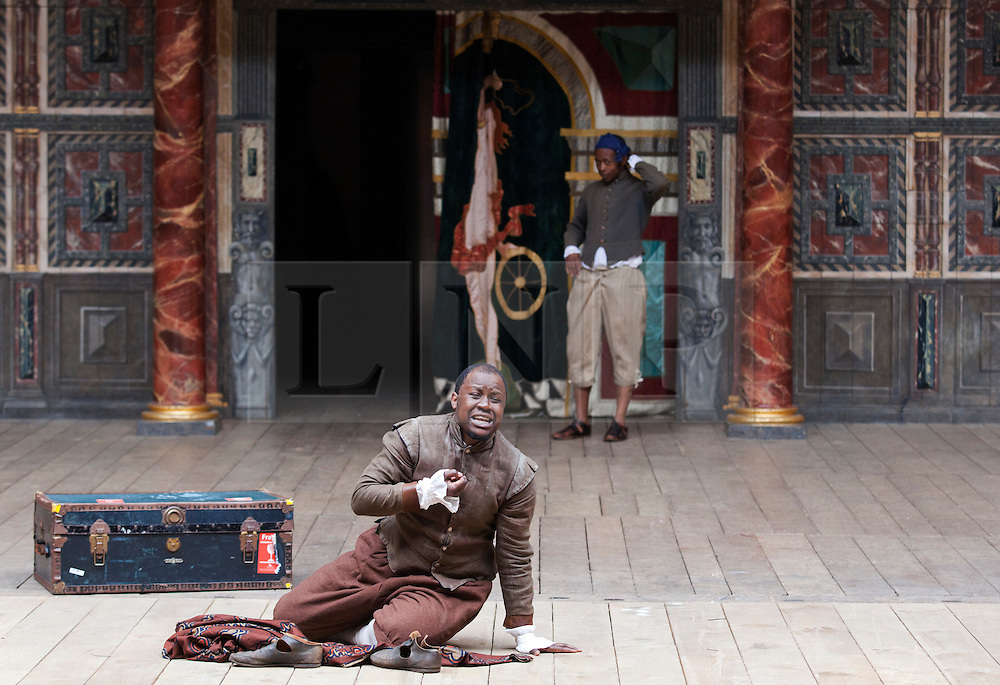 © Licensed to London News Pictures. 23/04/2012. London, England. A Shona language version of Two Gentlemen of Verona is performed by members of the Two Gents theatre company. The Globe to Globe Season begins at the Shakespeare's Globe Theatre with where 37 Shakespeare plays will be performed in 37 different languages.  Photo credit: Bettina Strenske/LNP