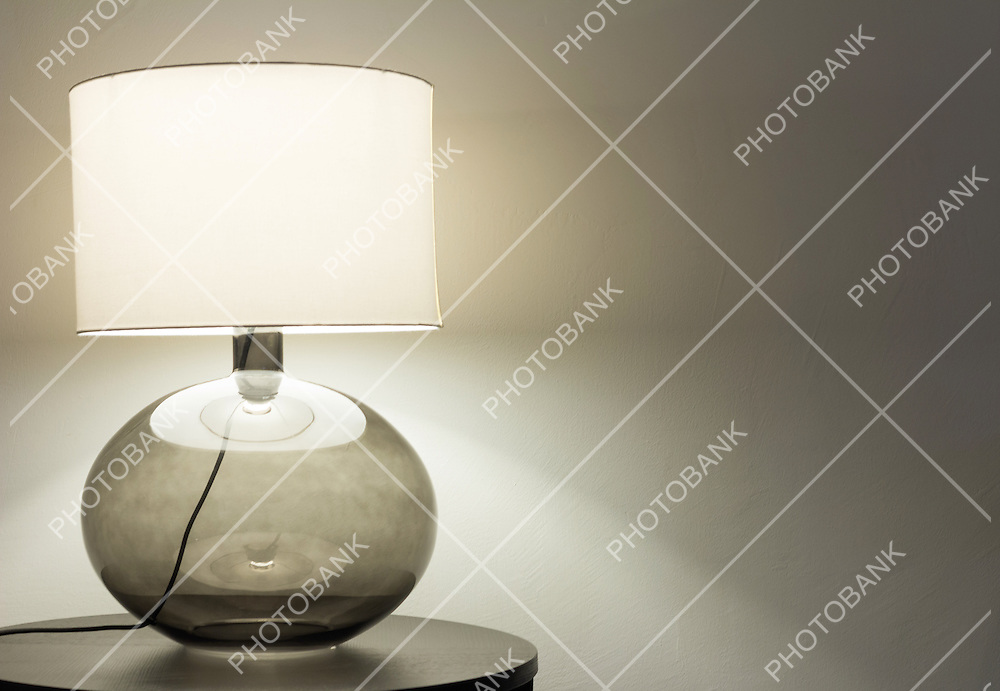 Interior of modern house, detail living room, table lamp