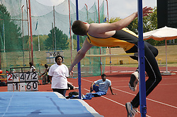 British Open Athletics Championships 2003 games; athlete taking part in a high jump event,