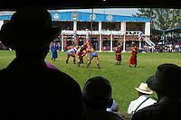 Mongolie, province de Arkhangai, Tsetserleg, fete du Naadam, tournoi de lutte // Mongolia, Arkhangai province, Naadam festival, wrestling tornament