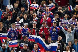 Fans of Slovenia during ice-hockey match between Great Britain and Slovenia at IIHF World Championship DIV. I Group A Slovenia 2012, on April 15, 2012 in Arena Stozice, Ljubljana, Slovenia. (Photo by Vid Ponikvar / Sportida.com)