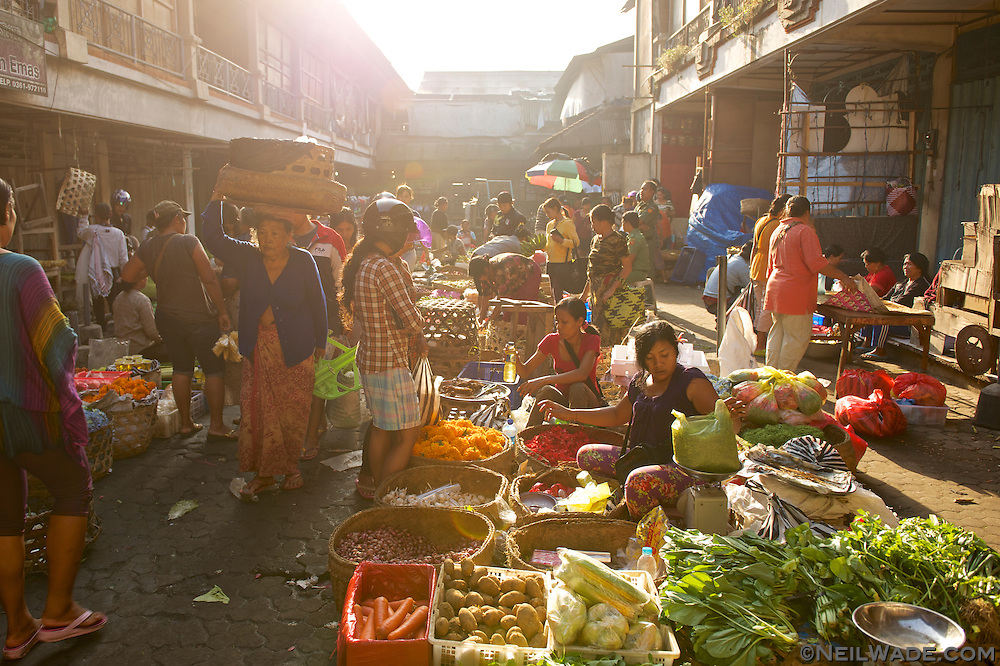 The fresh vegetable morning market is very busy in Ubud, Bali, Indonesia.