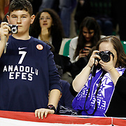 Anadolu Efes's Supporters fans during their Turkish Basketball Turkey Cup game 1 basketball match Galatasaray between Anadolu Efes at the BESYO Arena in Eskisehir, Turkey, Thursday, February, 2013. Photo by Aykut AKICI/TURKPIX