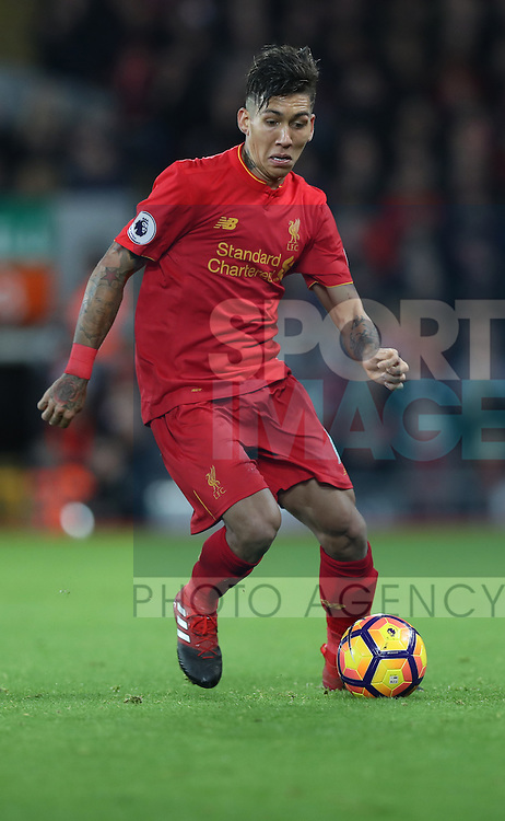 Roberto Firmino of Liverpool during the Premier League match at Anfield Stadium, Liverpool. Picture date: December 11th, 2016.Photo credit should read: Lynne Cameron/Sportimage