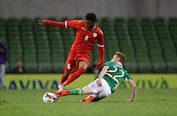 Oman's Raed Ibrahim Saleh in action against Ireland's  Stephen Quinn - Mandatory by-line: Ken Sutton/JMP - 31/08/2016 - FOOTBALL - Aviva Stadium - Dublin,  - Republic of Ireland v Oman -