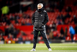 Manchester United manager Jose Mourinho on the pitch before the Emirates FA Cup, quarter final match at Old Trafford, Manchester.