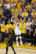 Golden State Warriors guard Stephen Curry (30) shoots a three pointer against the Cleveland Cavaliers during Game 5 of the NBA Finals at Oracle Arena in Oakland, Calif., on June 12, 2017. (Stan Olszewski/Special to S.F. Examiner)