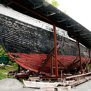 The once proud Evelina M. Goulart fishing boat awaits the funds for a full restoration at the Essex Shipbuilding Museum in Essex, Massachusetts.