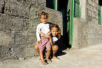 12 JAN 2006, FOGO/CAPE VERDE:<br /> Kinder von Bangaeira in der Cha das Caldeiras, am Fusse des Pico de Fogo, Fogo, Kapverdischen Inseln<br /> Children of Bangaeira into the Cha das Caldeiras, near the Pico de Fogo, Island Fogo, Cape verde islands<br /> IMAGE: 20060112-01-055<br /> KEYWORDS: Travel, Reise, Natur, nature, cabo verde, Dritte Welt, Third World, Kapverden