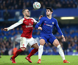 10 January 2018 - Football League Cup - Chelsea v Arsenal - Jack Wilshere of Arsenal and Alvaro Morata of Chelsea battle for a header - Photo: Charlotte Wilson / Offside