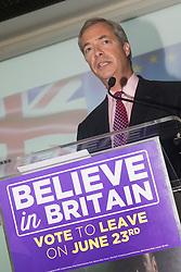 Emmanuel Centre, Westminster, London, June 22nd 2016. UKIP leader and vociferous anti-EU campaigner Nigel Farage delivers his final speech prior to the EU referendum to be held on June 23rd.