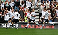 Photo: Steve Bond. <br />Derby County v Portsmouth. Barclays Premiership. 11/08/2007.  Matt Oakley (L) celebrates his 4th minute goal