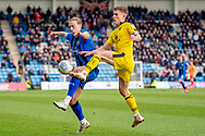 Gillingham FC forward Tom Eaves (9) and Oxford United defender Rob Dickie (4) during the EFL Sky Bet League 1 match between Gillingham and Oxford United at the MEMS Priestfield Stadium, Gillingham, England on 9 March 2019.
