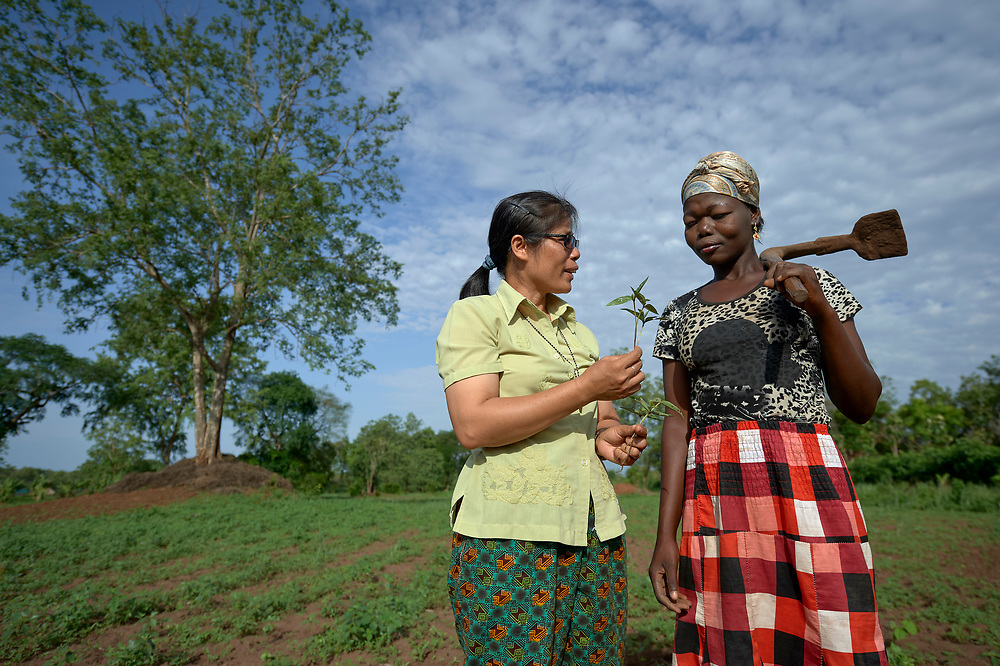Sister Rosa Le Thi Bong (left), a Vietnamese member of Sisters of Our Lady of the Missions, talks with Mary Gaboropai about plant health on a church-sponsored farm in Riimenze, South Sudan. The farm is run by Solidarity with South Sudan and provides food for students at a teacher training college, residents of a Congolese refugee camp, and displaced South Sudanese, like Gaboropai, who live in a camp for internally displaced persons that formed around the Our Lady of Assumption Catholic Church in Riimenze.