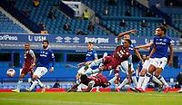 Football - 2019 / 2020 Premier League - Everton vs Aston Villa<br /> <br /> Ezri Konsa of Aston Villa scores at Goodison Park<br /> <br /> COLORSPORT/LYNNE CAMERON
