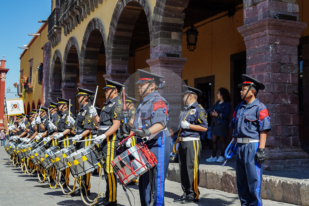 School marching bands perform in the Plaza Allende to mark the 251st birthday celebration of Mexican Independence hero Ignacio Allende January 21, 2020 in San Miguel de Allende, Guanajuato, Mexico. Allende, from a wealthy family in San Miguel played a major role in the independency war against Spain in 1810 and later honored by his home city by adding his name.
