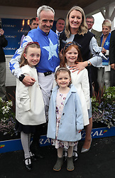 Ruby Walsh celebrates winning the Coral Punchestown Gold Cup on Kemboy, with wife Gillian and dughters Isabelle, Gemma and Elsa Walsh, where he then announced his retirement during day two of the Punchestown Festival at Punchestown Racecourse, County Kildare, Ireland.