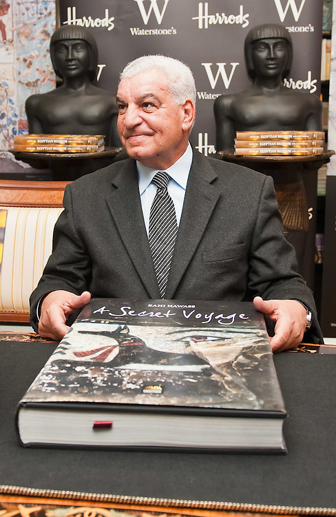 LONDON, ENGLAND - DECEMBER 10:  Dr Zahi Hawass attends a book signing of his limited edition book a Secret Vojage at Waterstone Harrods on December 10, 2009 in London, England. Dr Hawass is calling for the Rosetta Stone to be returned to Egypt....***Agreed Fee's Apply To All Image Use***.Marco Secchi /Xianpix. tel +44 (0) 771 7298571. e-mail ms@msecchi.com .www.marcosecchi.com