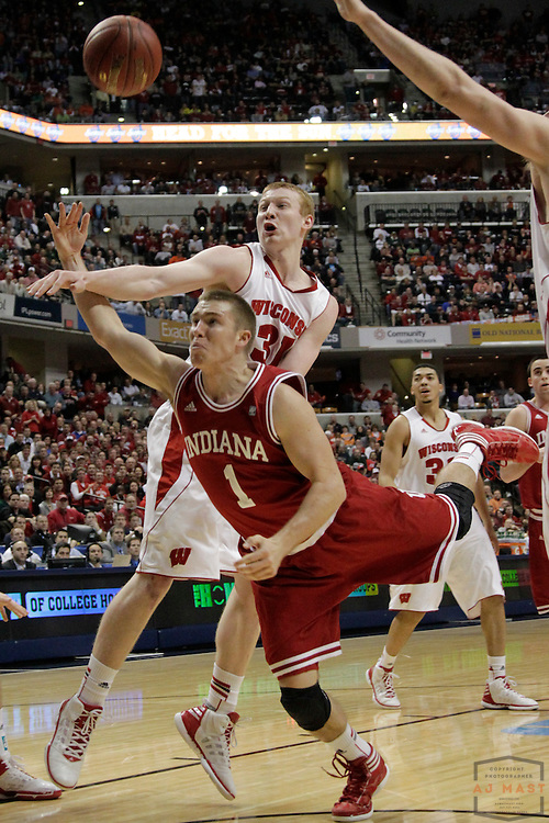 09 March 2012: Indiana Guard Jordan Hulls (1)  as the Indiana Hoosiers played the Wisconsin Badgers in a college basketball game during the Big 10 Men's Basketball Championship in Indianapolis
