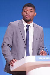 © Licensed to London News Pictures . 29/09/2014 . Birmingham , UK . ALEXANDER PAUL (18 from Crystal Palace ) who spoke ahead of The Home Secretary Theresa May about Stop and Search . The 2014 Conservative Party Conference in Birmingham . Photo credit : Joel Goodman/LNP