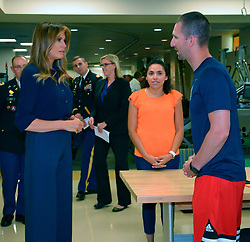 July 3, 2018 - Bethesda, MD, United States of America - U.S First Lady Melania Trump visits with wounded warriors during a surprise visit to Walter Reed National Military Medical Center July 3, 2018 in Bethesda, Maryland. (Credit Image: © Walter Reed/Planet Pix via ZUMA Wire)