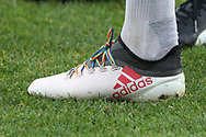 Rainbow laces during the EFL Sky Bet League 1 match between AFC Wimbledon and Southend United at the Cherry Red Records Stadium, Kingston, England on 24 November 2018.