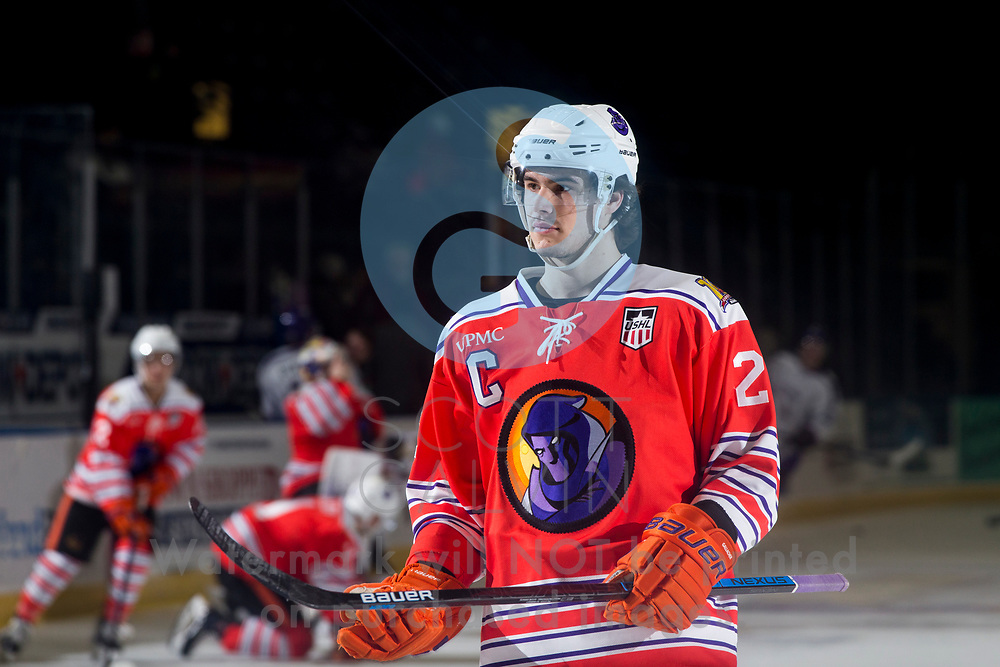 Youngstown Phantoms lose 4-1 to the Tri-City Storm at the Covelli Centre on January 17, 2020.<br /> <br /> Aiden Gallacher, defenseman, 2