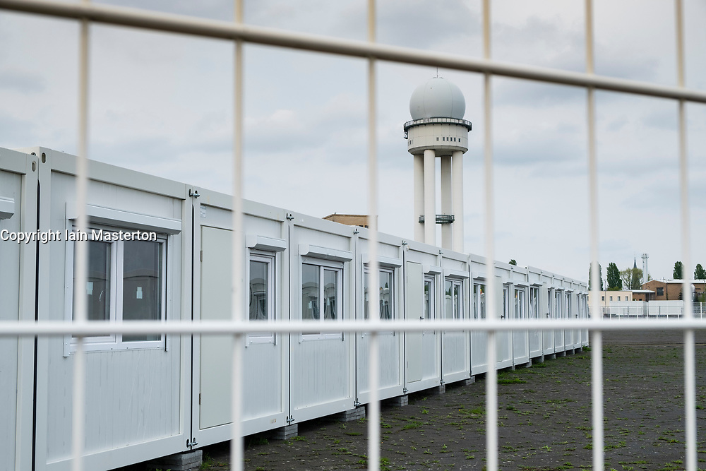 """Berlin, Germany, 6 May 2017. Temporary accomodation  for asylum seekers being erected at """"Tempohome"""" in grounds of former Tempelhof Airport in Berlin , Germany."""