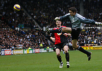 Photo: Steve Bond/Sportsbeat Images.<br /> Derby County v Blackburn Rovers. The FA Barclays Premiership. 30/12/2007. Keeper Lewis Price clears in front of incoming Brett Emerton