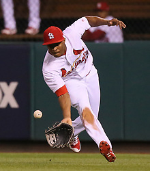 September 29, 2017 - St Louis, MO, USA - St. Louis Cardinals right fielder Magneuris Sierra tries to field a single by the Milwaukee Brewers' Eric Thames in the ninth inning on Friday, Sept. 29, 2017, at Busch Stadium in St. Louis. Sierra misplayed the ball for a fielding error. (Credit Image: © Chris Lee/TNS via ZUMA Wire)