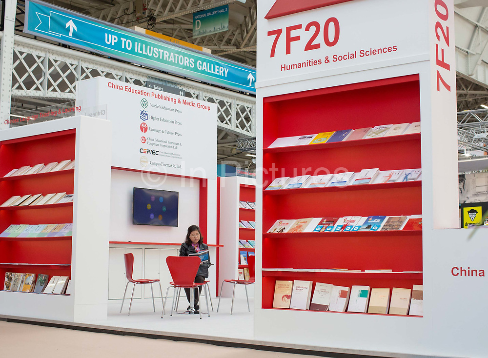 China Education Publishing and Media Group stand during day three of the London Book Fair on the 14th March 2019 at London Olympia in the United Kingdom.