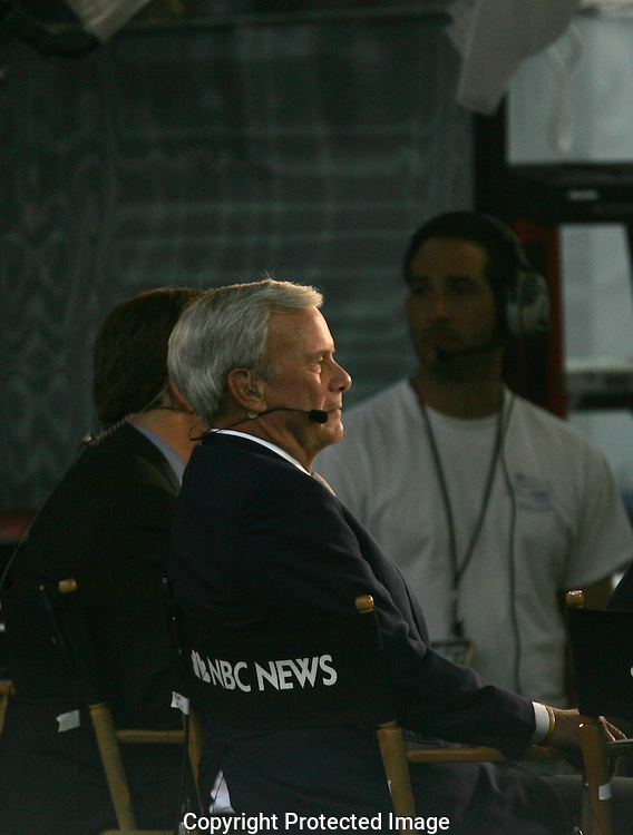 Tom Brokaw NBC comments on the  activities of the Democratic Convention on August 28, 2008. Photo by Dennis Brack