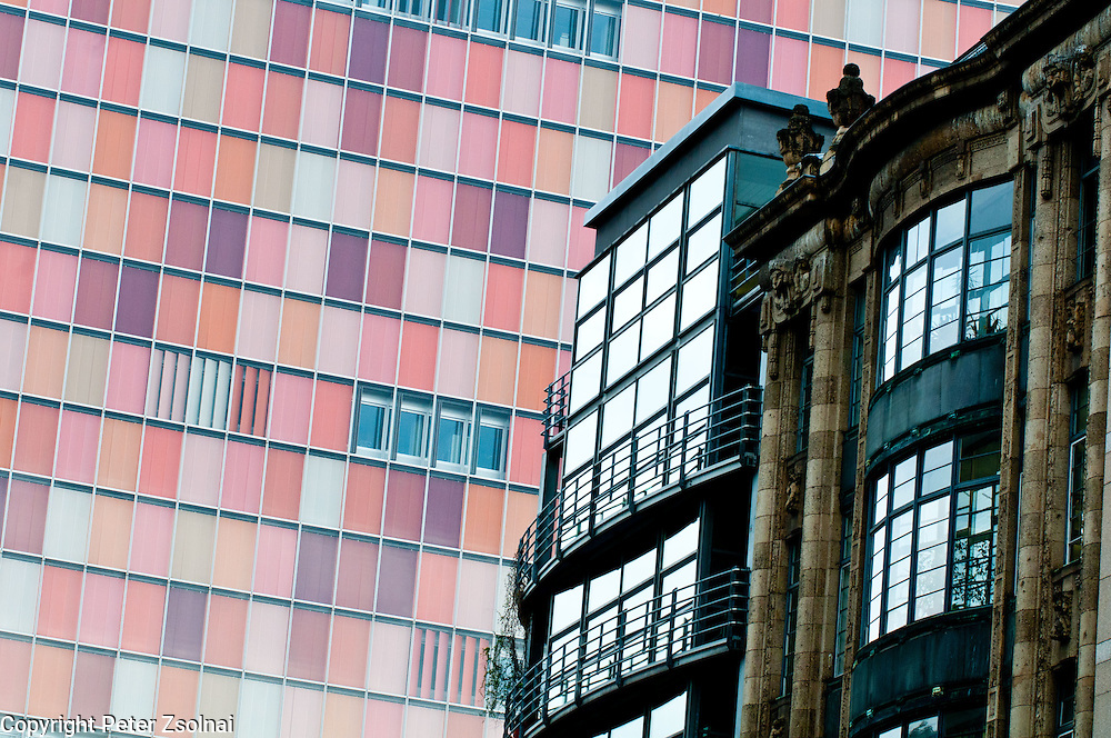 Where old meets the new. Buildings of near Checkpoint Charlie in Berlin Germany