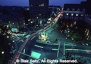 Lancaster city center at night, aerial