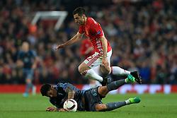 11th May 2017 - UEFA Europa League - Semi Final (2nd Leg) - Manchester United v Celta Vigo - Henrikh Mkhitaryan of Man Utd battles with Pablo Hernandez of Celta Vigo - Photo: Simon Stacpoole / Offside.